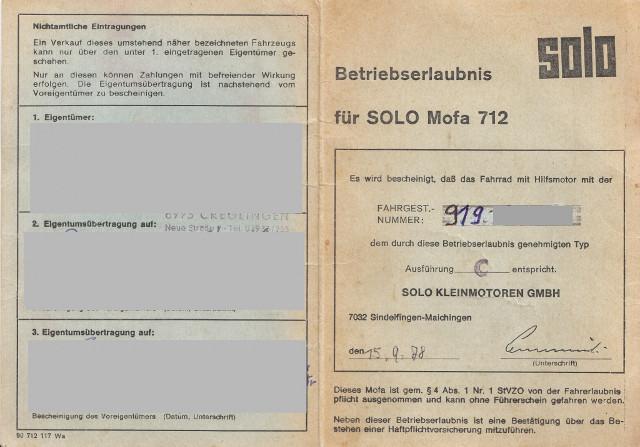Muster ABE: Solo Mofa 712 – Baujahr 1978